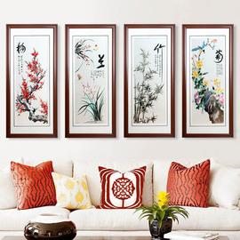 湘绣梅兰竹菊四君子条屏湖南特色客厅装饰画纯手工刺绣成品画礼品