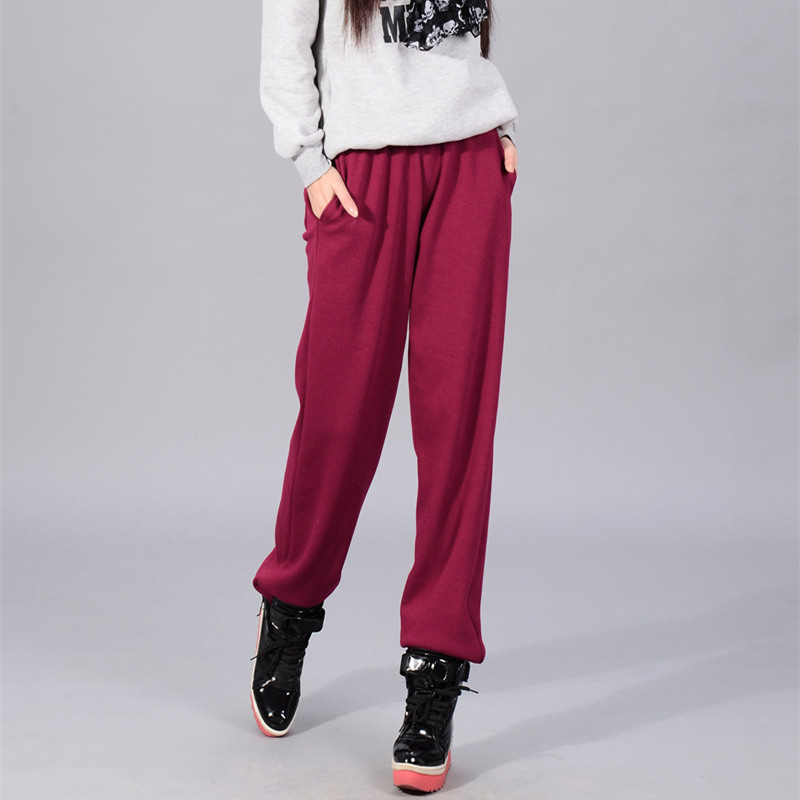 Autumn and winter new sportswear womens plush and thickened high waist pants loose casual pants womens straight pants