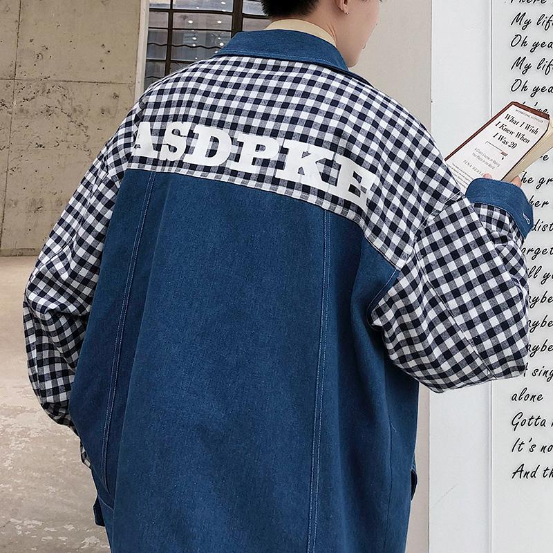 20秋格子拼接印花夹克男韩版宽松牛仔夹克学生夹克JK112-P95限125