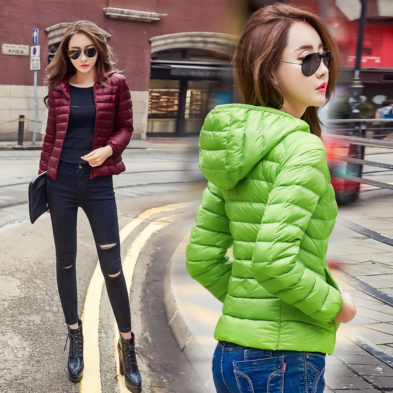 Распродажа Скидки сезон зимних дамы супер легкий с вниз куртка женщин короткие тощий тонкий Корейский куртка прилив