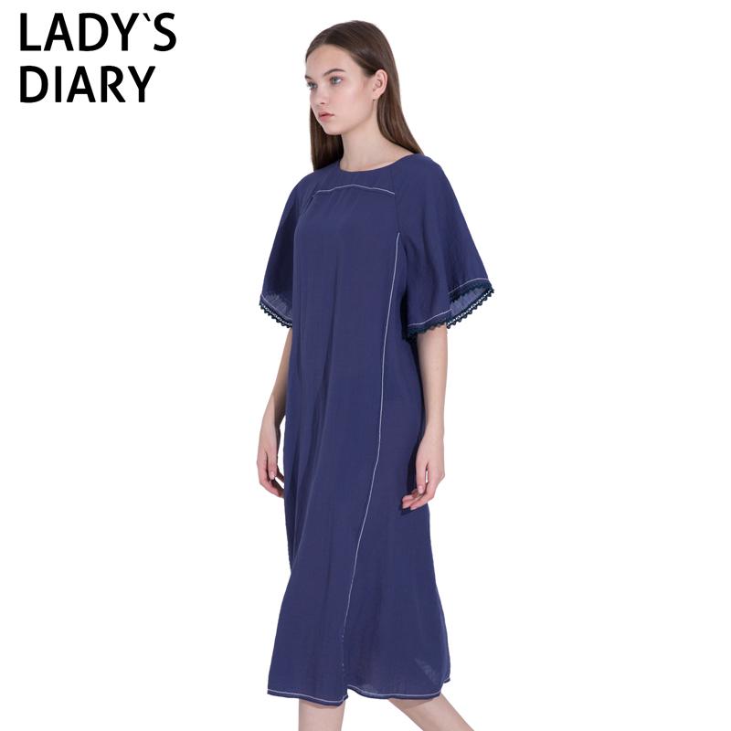 LADY'S DIARY/女性日记2019夏季新款连衣裙纯色中长裙有腰带
