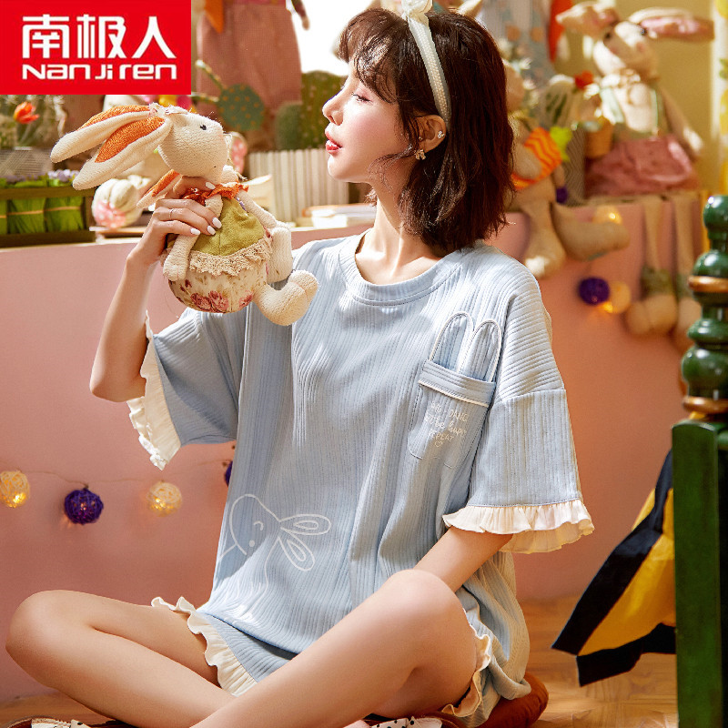 2021年新款睡衣女夏季纯棉短袖短裤两件套装薄款学生春夏天家居服