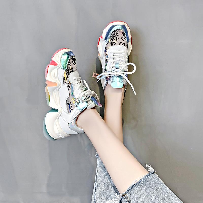 2020流行女鞋新款果冻脏脏彩虹底老爹鞋女春款新款网红高跟超火女