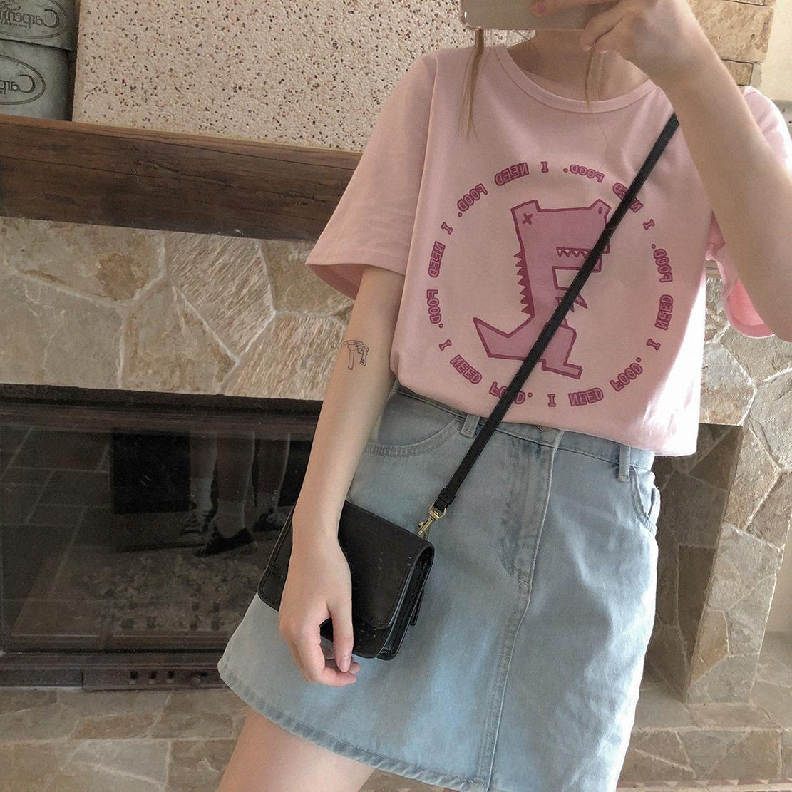 包邮恐龙粉色女款T恤宽松印花情侣短袖软妹萌妹可爱卡通上衣