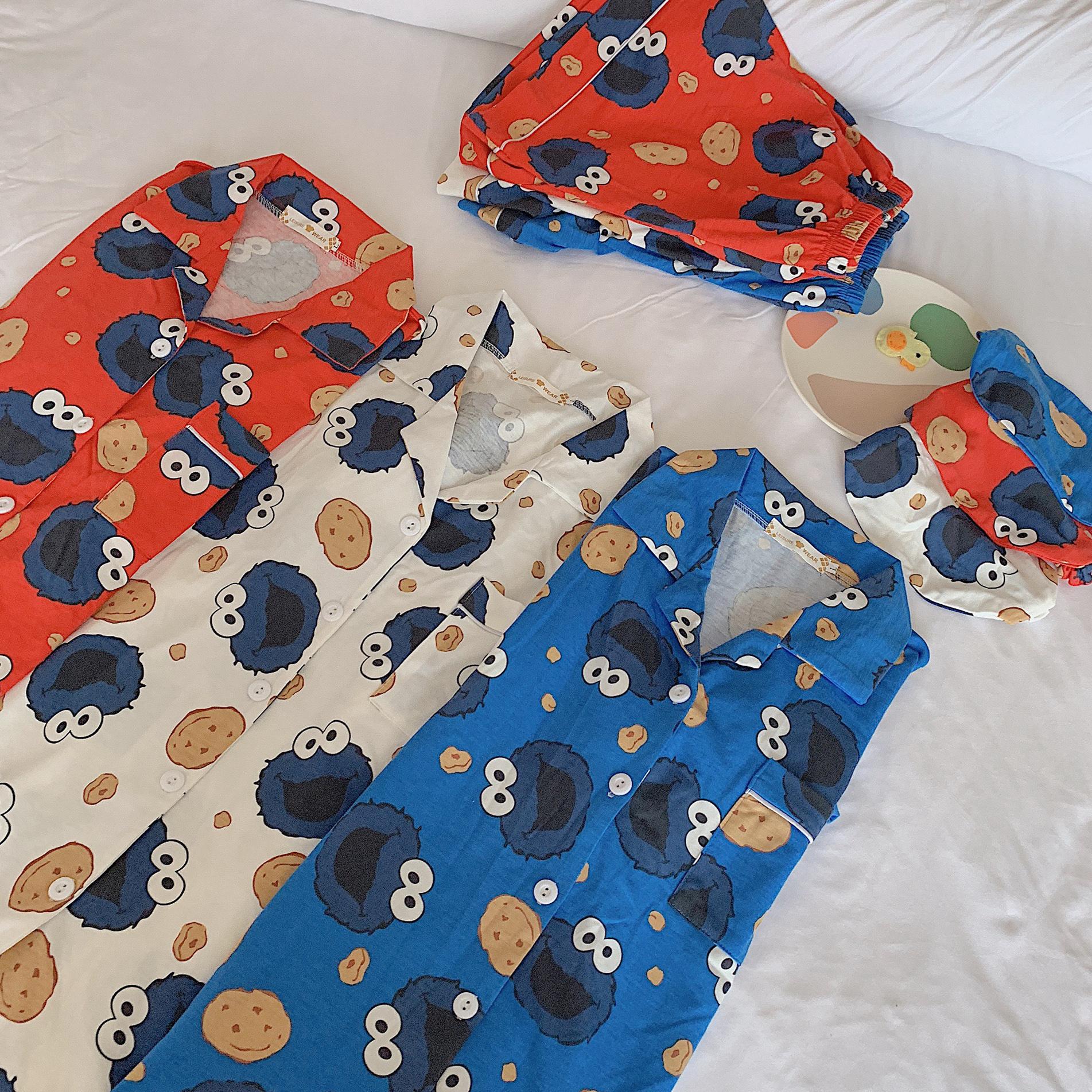 日系芝麻街夏睡衣网红学生格子面包超人男女ins卡通短袖短裤纯棉