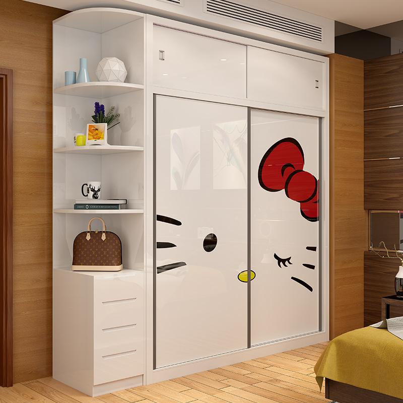 儿童衣柜推拉门简约现代女孩卧室实木质趟门大衣橱2门组装收纳柜