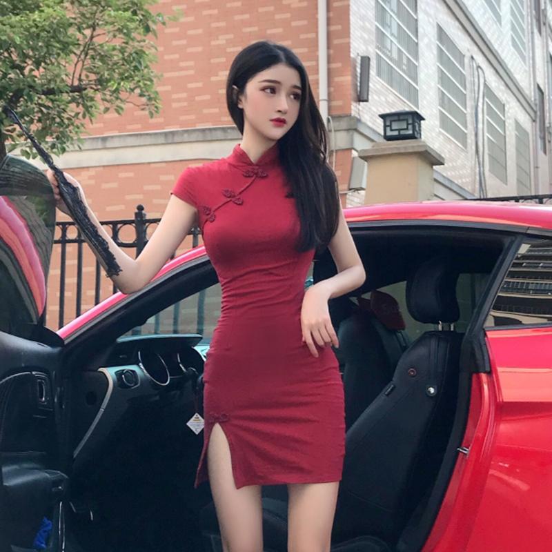 民国小洋装气质复古中国风少女紧身性感短款日常旗袍改良版连衣裙