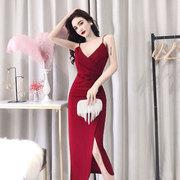 晚礼服女夜店酒吧气场性感女王低胸V领中长款抹胸吊带侧开连衣裙
