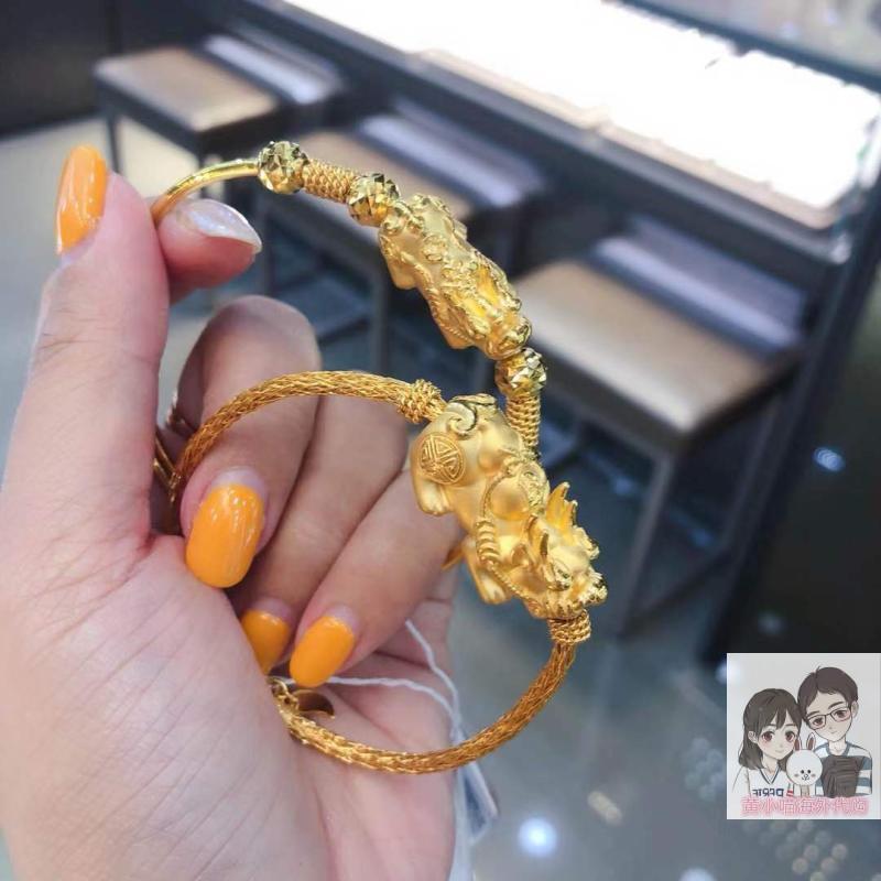 香港六福珠宝专柜代购 990足金黄金貔貅 招财貔貅手镯 手环可调节