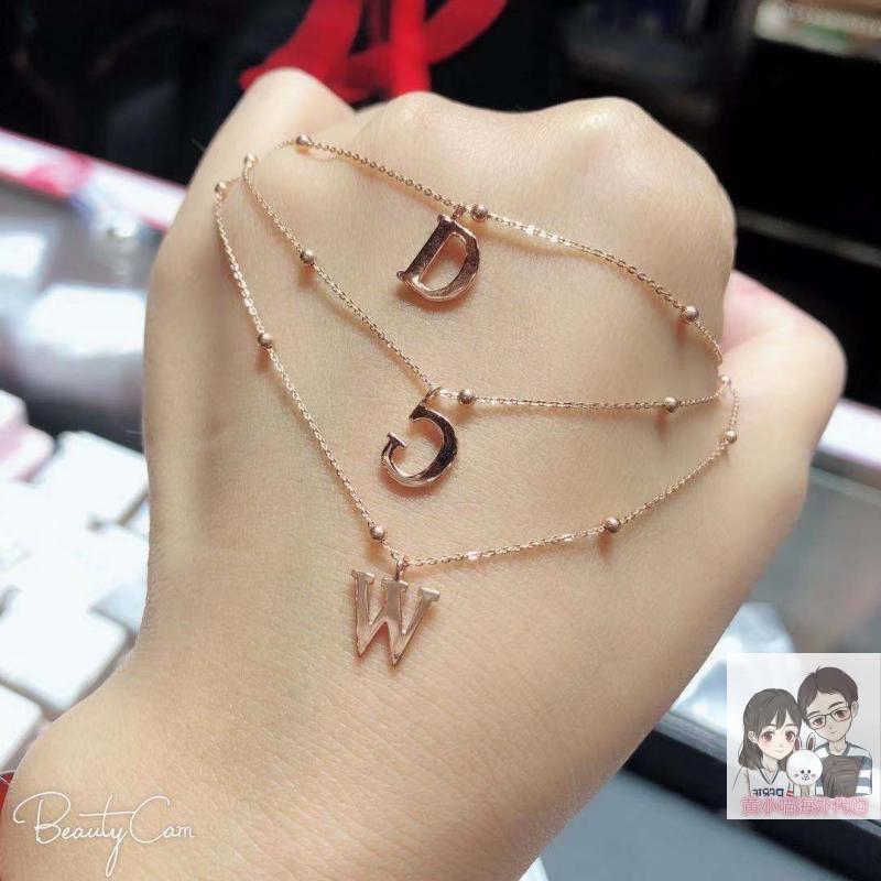 礼物推荐 六福珠宝18K玫瑰金字母项链 锁骨链 专属定制闺蜜套链