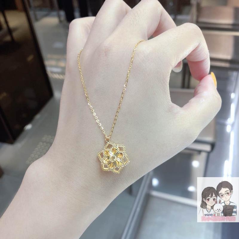 香港六福珠宝代购 AU990足金财运花镂空花朵项链 黄金一体套链