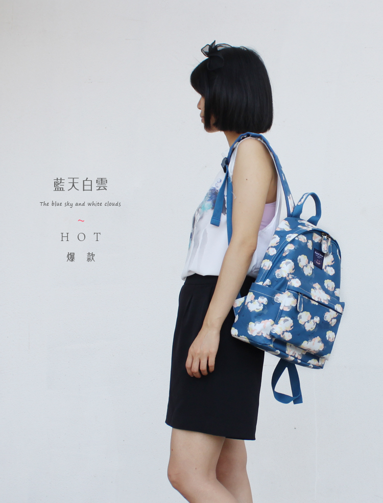 Korean new style college Style Floral small fresh printed Canvas Backpack fashion versatile waterproof backpack schoolbag