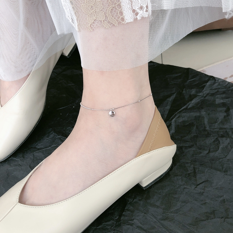 S925 Silver Lucky bean Anklet womens Day Korean simple lucky bean Anklet student summer cool jewelry