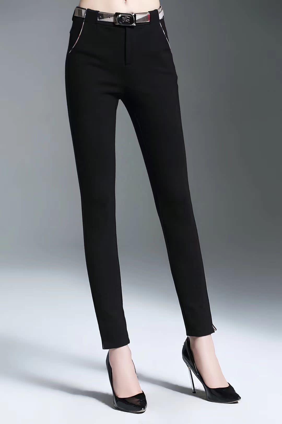 BIDITIRRY正品裤子2018秋冬新款小脚裤女罗马棉弹力修身显瘦长裤