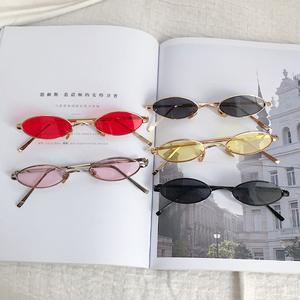 复古原宿ins窄框眼镜墨镜女士街拍照韩版小框装饰搭配太阳镜女潮