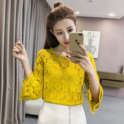 2019新款夏装喇叭袖雪纺衫女韩版秋季中袖上衣服七分袖蕾丝打底衫