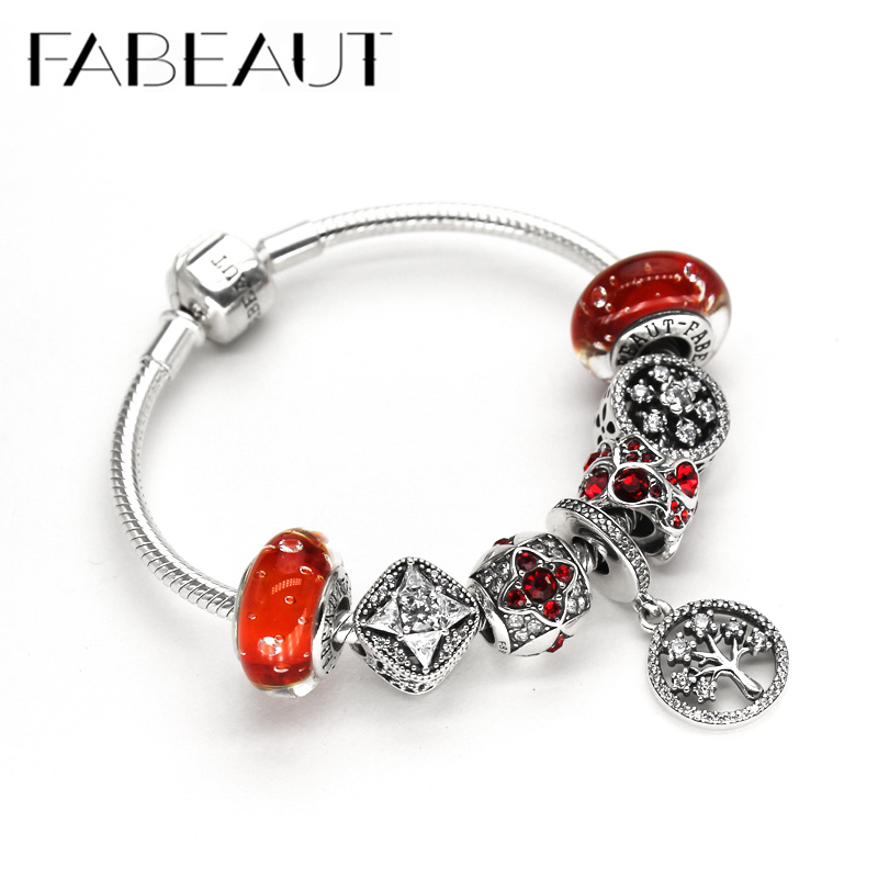 Fabeaut China Red Christmas family tree happy 925 Sterling Silver Beaded Bracelet for lady girlfriend Valentines Day