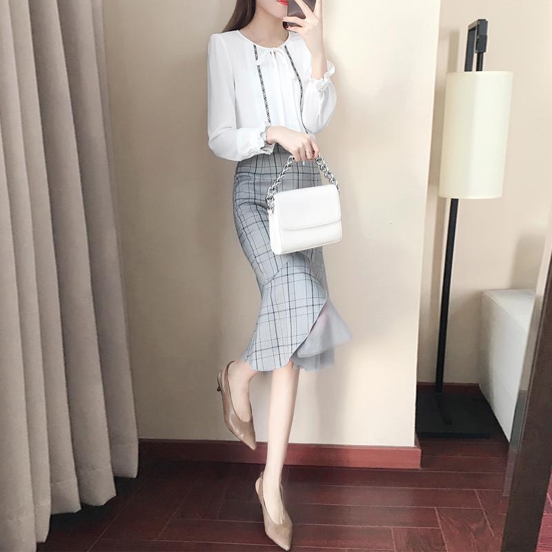 秋季套装女2018新款韩版时尚气质淑女小香风鱼尾裙修身名媛两件套
