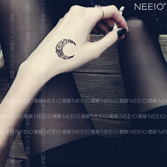Neeio тату паста месяц половина изгиб хорошо луна тотем рука модель / рука модель тату наклейки водонепроницаемый женщина