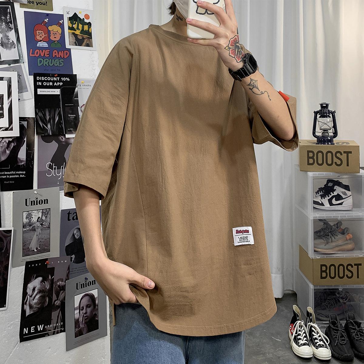 2020夏港风男欧美风T恤 纯色立体拼接棉麻短袖T恤 YM08/P30 大货