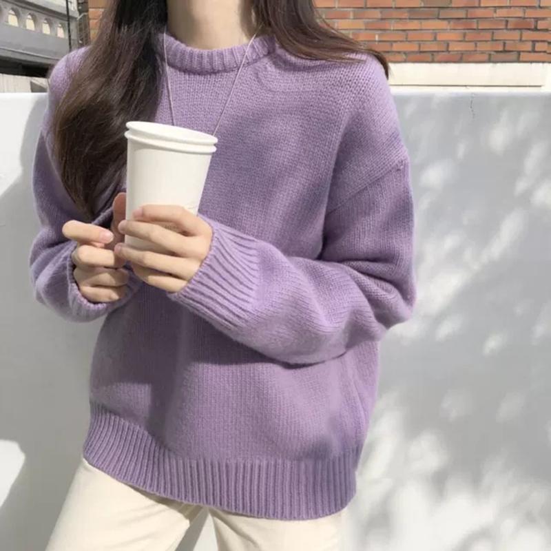 秋冬甜美可爱女装毛衣新款宽松慵懒风外穿打底套头针织内搭上衣女