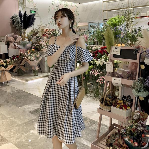 KTY12319#法式复古浪漫轻熟风2020夏季新款收腰吊带裙格子连衣裙女