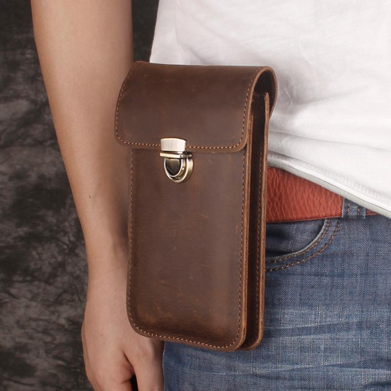 超薄手机包男穿皮带腰包真皮6寸竖款手机腰包头层牛皮腰挂包双层