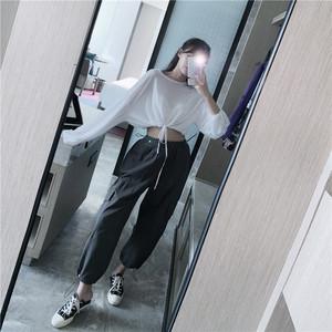 实价实拍 抽绳长袖T恤+高腰束脚休闲裤工装裤