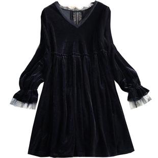 2020秋冬裝新款甜美日系娃娃款V領大碼寬鬆蕾絲拼接絲絨連衣裙女