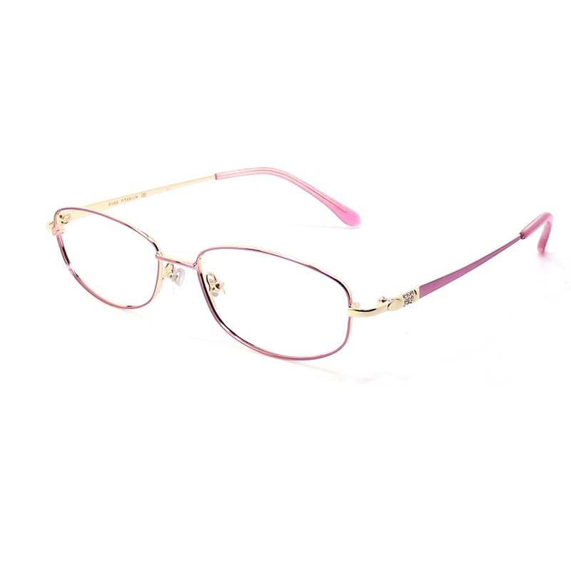 Diamond inlaid womens full frame spectacle frame pure titanium two color electroplating myopia frame optical glasses business temperament spectacle frame women