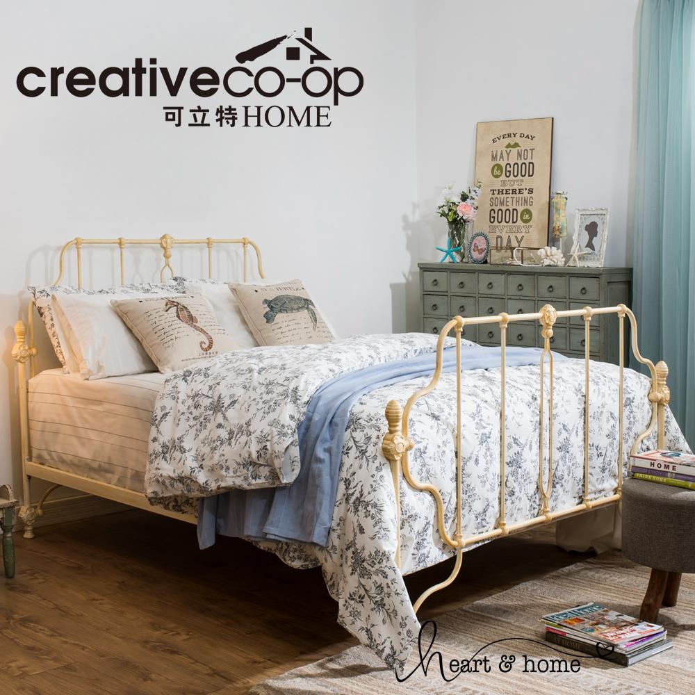 可立特法式复古米白色金属床架轻奢做旧铁艺床多尺寸主卧床儿童床