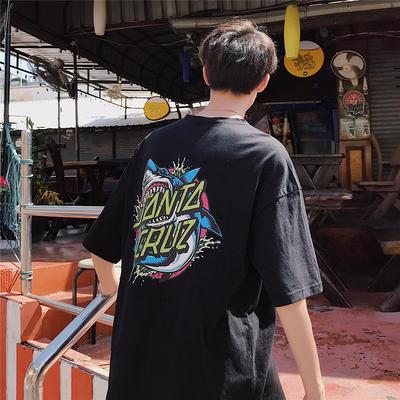卡通鲨鱼印花 圆领宽松短袖T恤 DX56-P25
