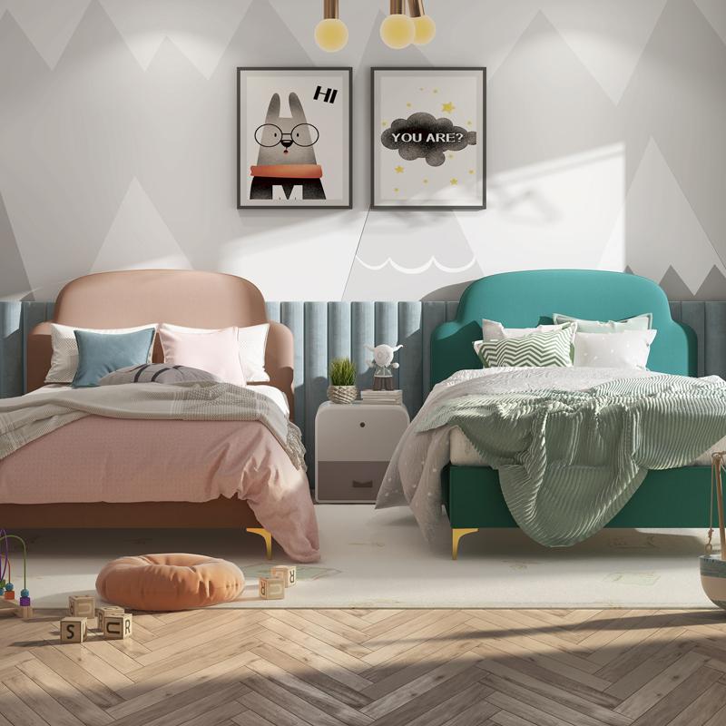 男の子供のベッドの現代は簡単で、大童兄弟のベッドの子供の部屋のシングルベッドの1.0 m 2胎の家庭のベッド。