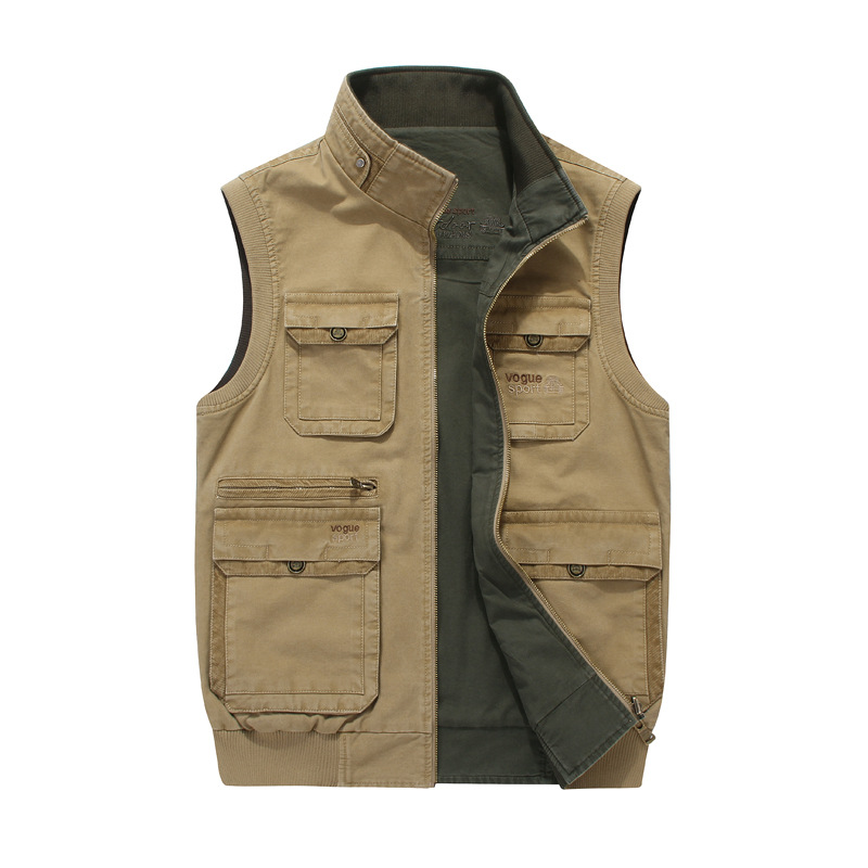 Jeep chariot mens casual vest outdoor two sides wearing pure cotton shoulder vest with multiple pockets