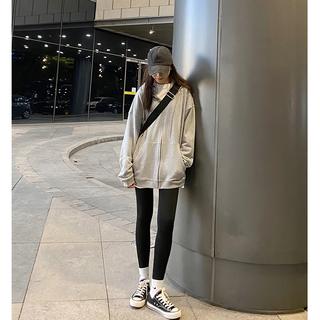 Hhey yee卫衣外套2021年新款女春秋百搭宽松韩版灰色拉链连帽开衫