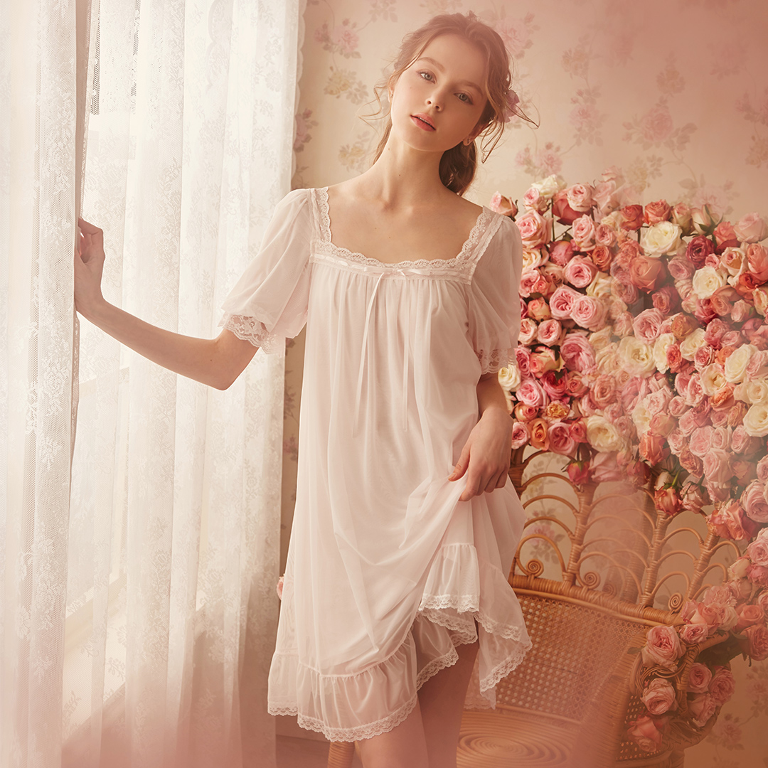 RoseTree宫廷风睡裙夏季女士性感可爱公主风短袖蕾丝冰丝甜美睡衣