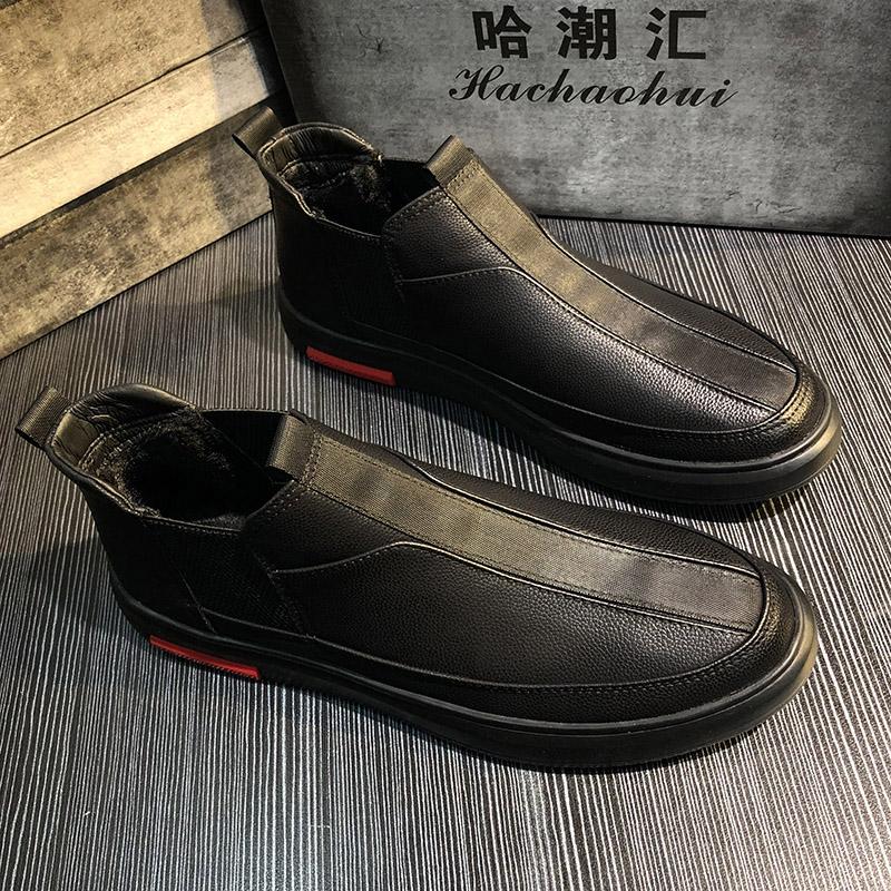 冬季新款男鞋加绒时尚休闲皮鞋复古一脚蹬鞋子精神小伙懒人鞋潮流图片