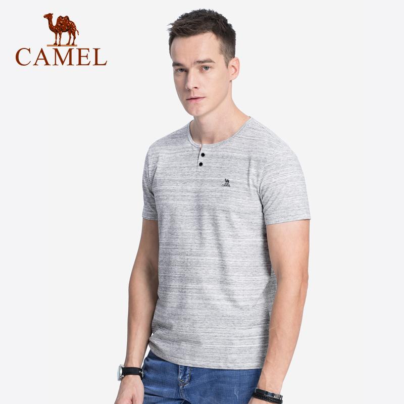 10月16日最新优惠骆驼男装 夏季青年韩版男士短袖t恤潮牌 潮流纯色体恤休闲上衣服