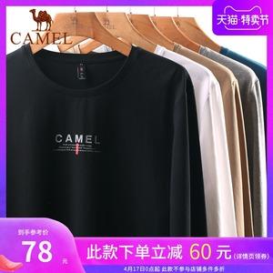 骆驼男装 长袖t恤男士圆领体桖潮2020新款春款上衣外穿套头打底衫