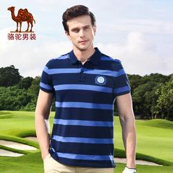 骆驼男装 夏季短袖纯棉条纹男士t恤青年休闲polo衫翻领商务保罗衫