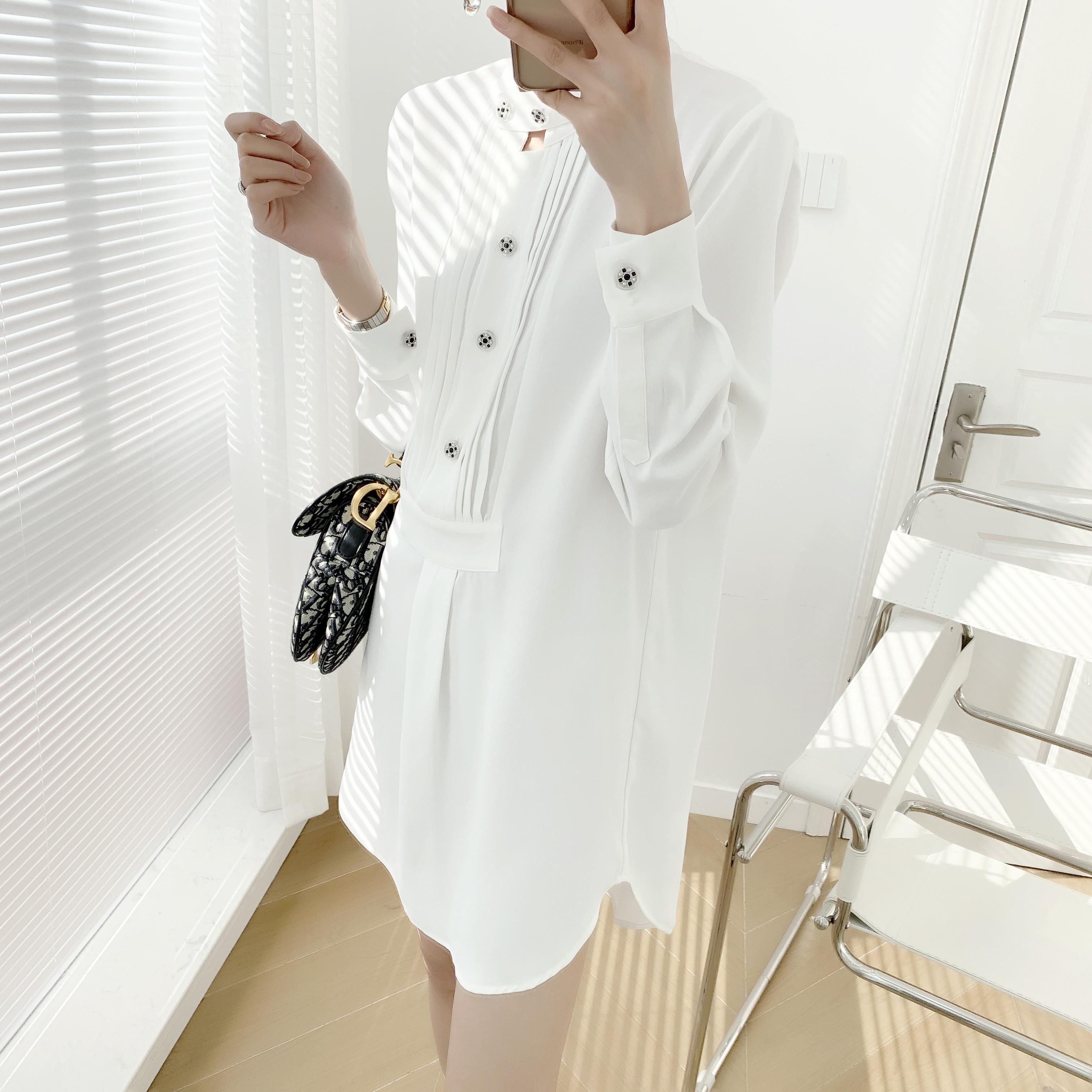 2020春季新款定制扣长袖衬衫裙女 纯色百搭气质小姐姐连衣裙