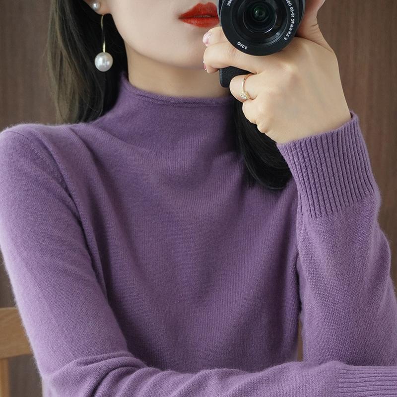 2020年新款流行紫色半高领毛衣女宽松套头韩版洋气内搭打底针织衫