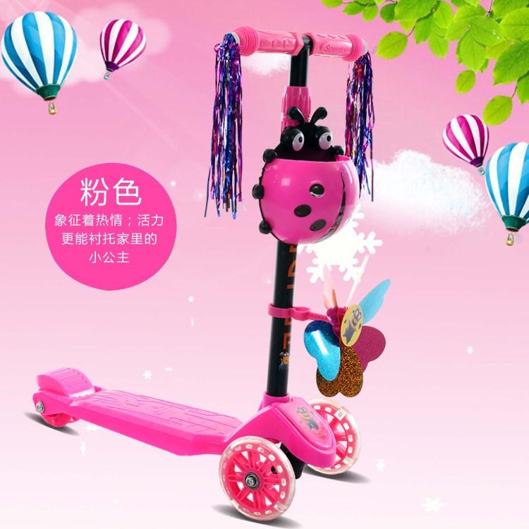 瓢虫男女滑板车男女脚踏车2368岁音乐四轮闪光可调节儿童小孩男女
