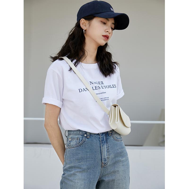 正品保证夕蒙2019新款宽松心机小众纯棉t恤