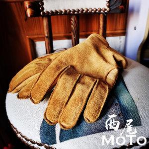 小熊爪复古户外防寒保暖拿铁摩托车骑行驾驶复古翻毛真皮小牛手套