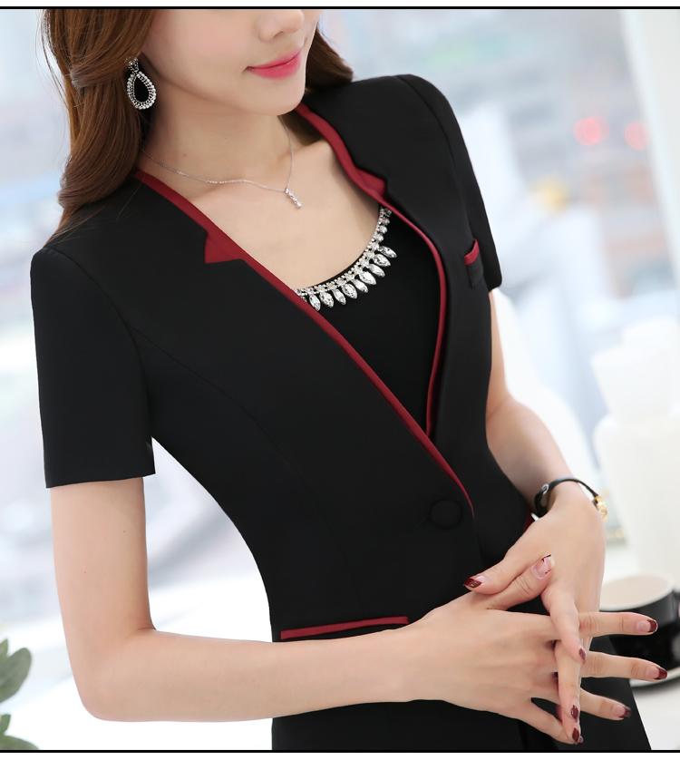 韩版夏季短袖职业女装套装气质显瘦修身套裙酒店美容师店长工作服
