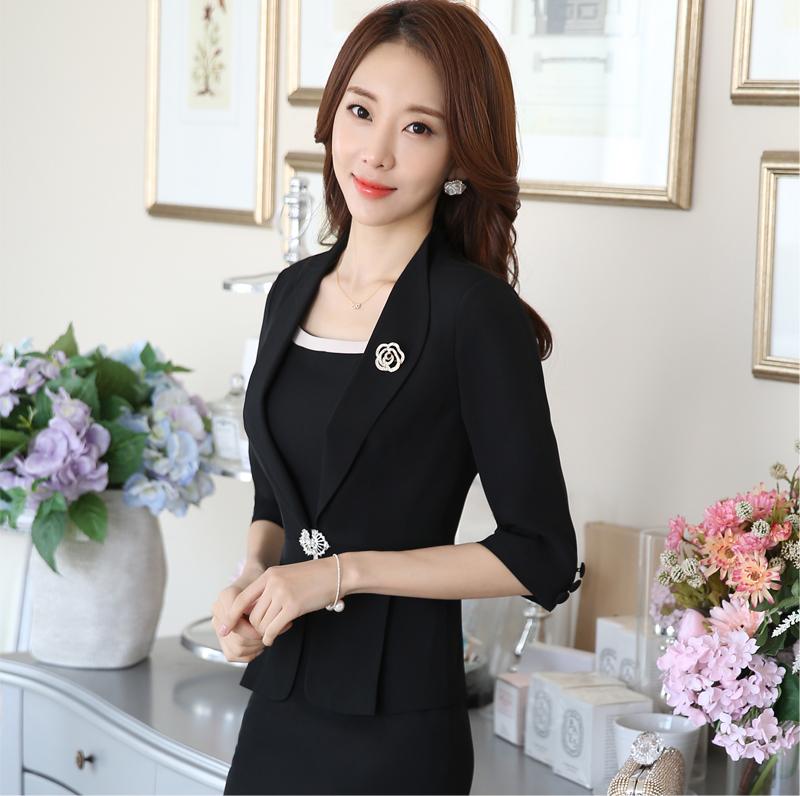 春夏季OL职业装美容院女装白领套装套裙韩版中袖小西服两件套工装