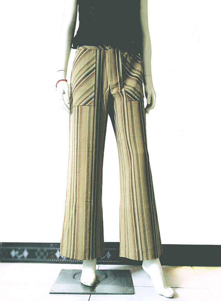 Gala Show / Gala Susan autumn and winter vertical stripe pure straight tube wide leg pants brand clearance temperament womens pants