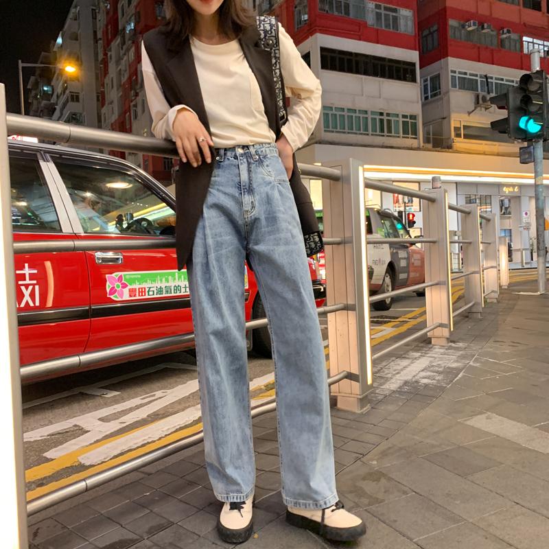 實拍#秋裝新款韓國明星樸彩英同款貓須高腰寬松牛仔褲