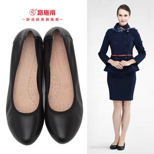 路施南工作鞋女黑色皮鞋真皮空姐鞋舒適中跟職業大碼女鞋單鞋工鞋